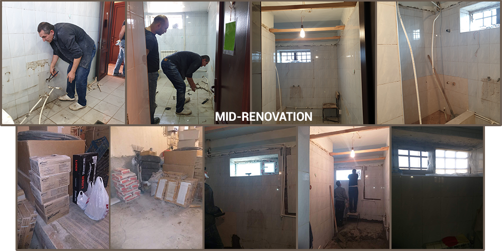 Mid-renovation of bathrooms at Warm Hearth