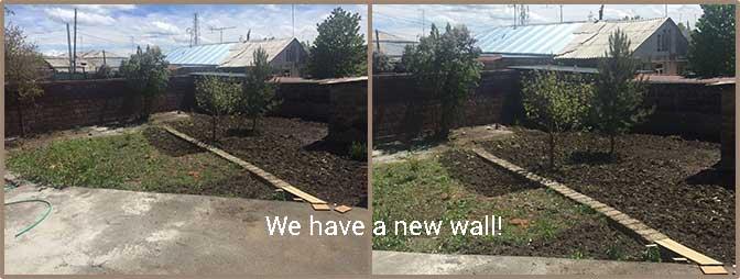 Transitional Center Garden Wall