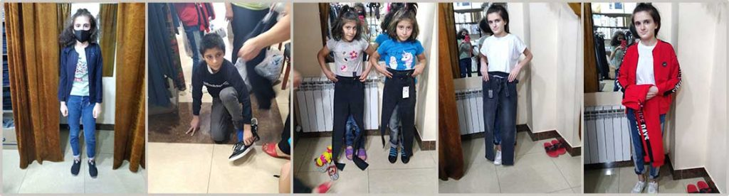 Clothing and shoes for displaced Artsakh children.