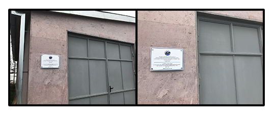 Plaques were placed on the food storage building at Idjevan that were contructed last year funded by SOAR and the Harold and Josephine Gulamerian Fund