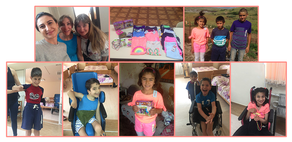 Lynn Kanayan made a visit bringing clothes, gifts, and a donation for the children of Kharberd and an SCOH family