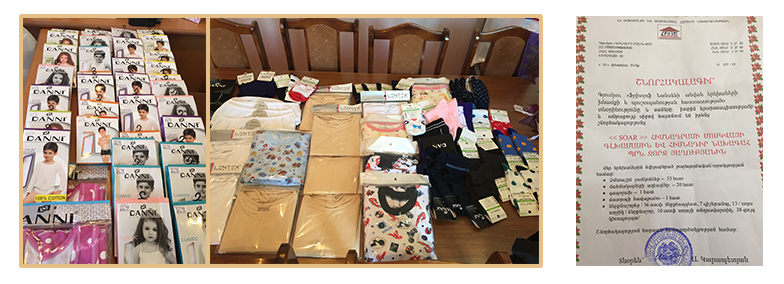 Underwear, socks, and pajamas for Nansen kids from SOAR Moscow chapter