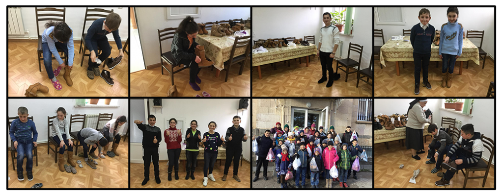 Shoes for the children at Our Lady of Armenia Educational Center funded by SOAR National