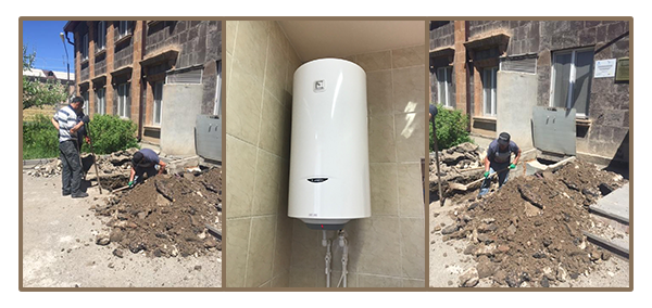 New water pipes and boiler for Children's Home Gyumri funded by SOAR National