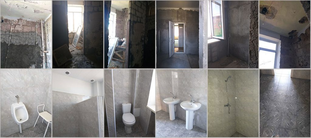 Renovation of bathrooms at Dzorak