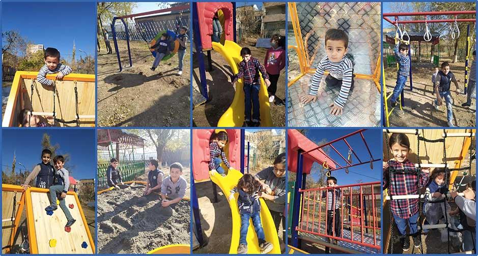 Children enjoying the new playground at Zadik Orphanage